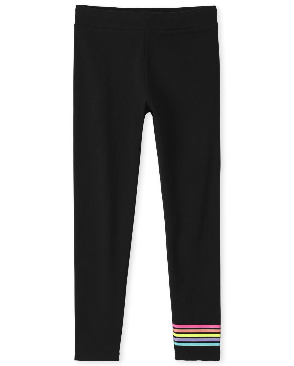 Girls Rainbow Striped Leggings - Black