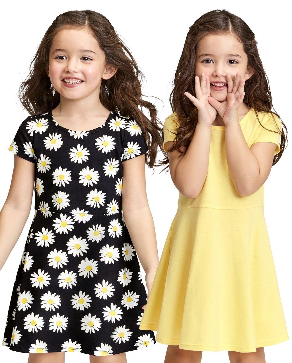 2-Pack Baby And Toddler Print Skater Dress - Black