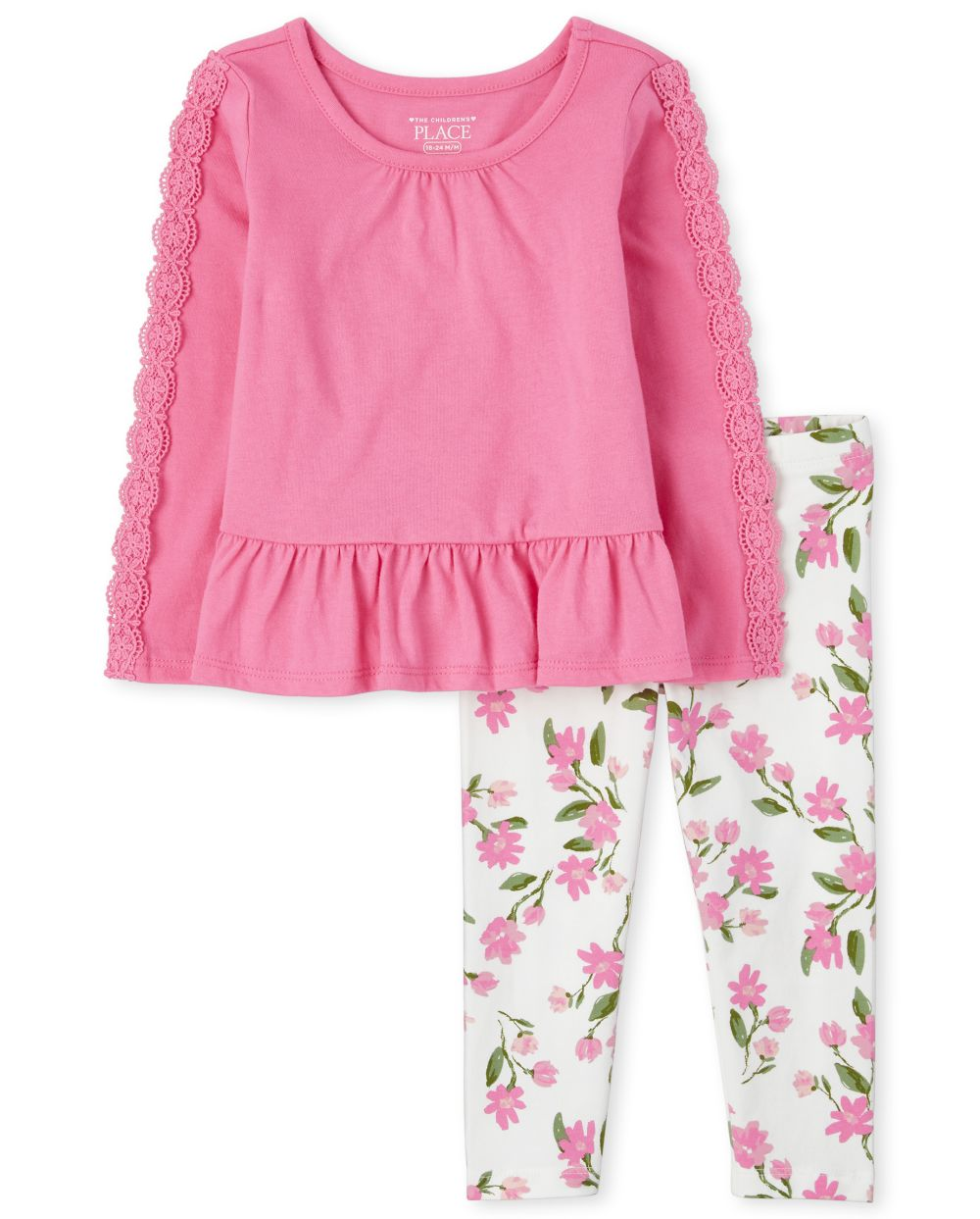 Toddler Floral Peplum 2-Piece Set - Pink
