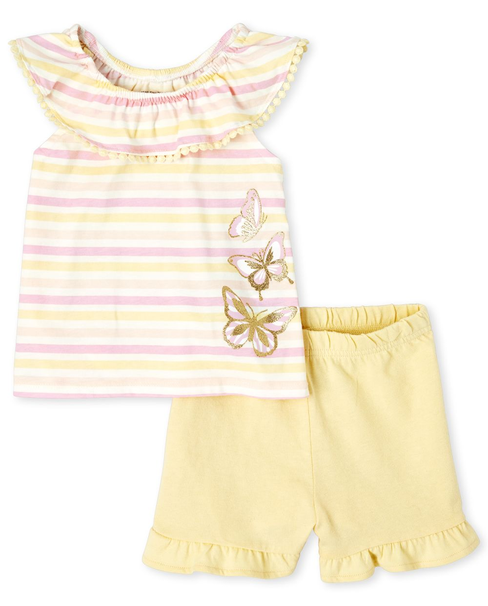 Toddler Striped Ruffle 2-Piece Set - Pink