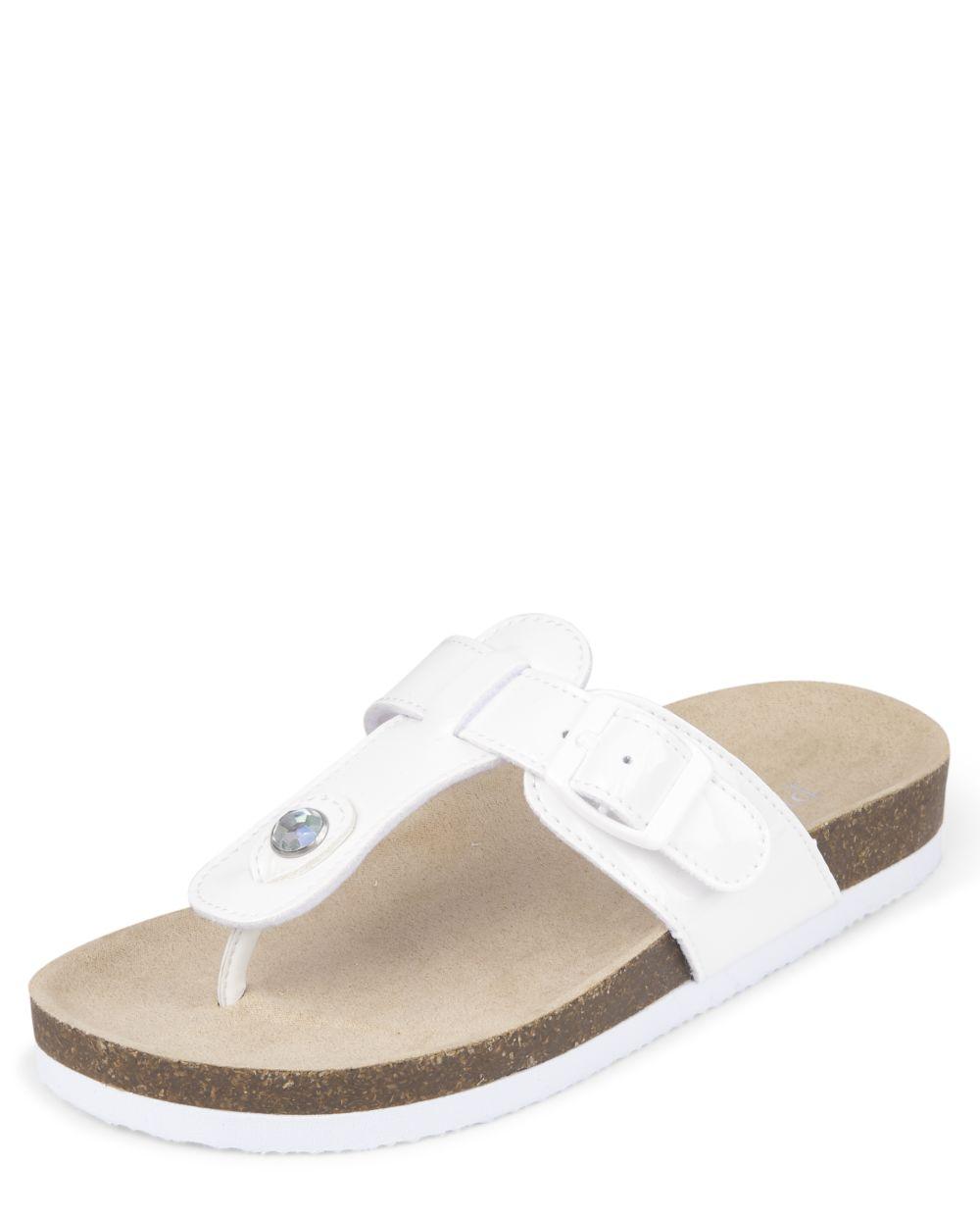 Jeweled T Strap Slides - White