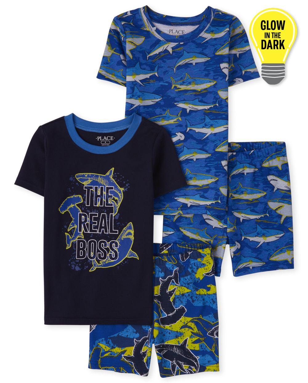 Boys Glow Shark Snug Fit Cotton Pajamas 2-Pack - Blue