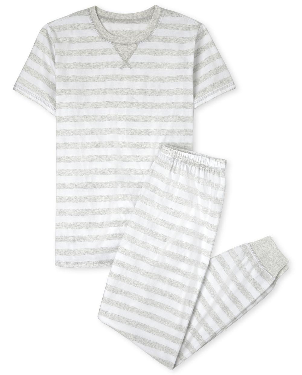 Unisex Adult Matching Family Striped Cotton Pajamas - Gray