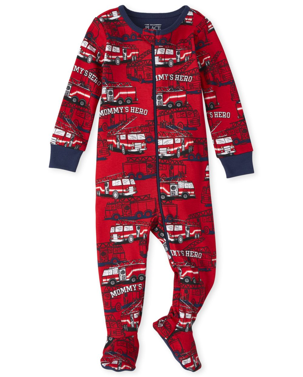 Baby And Toddler Boys Fire Truck Snug Fit Cotton One Piece Pajamas - Red