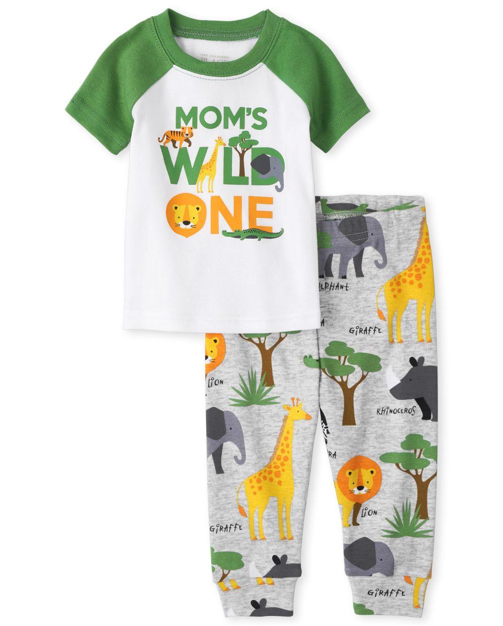 Baby And Toddler Boys Wild One Snug Fit Cotton Pajamas - Gray