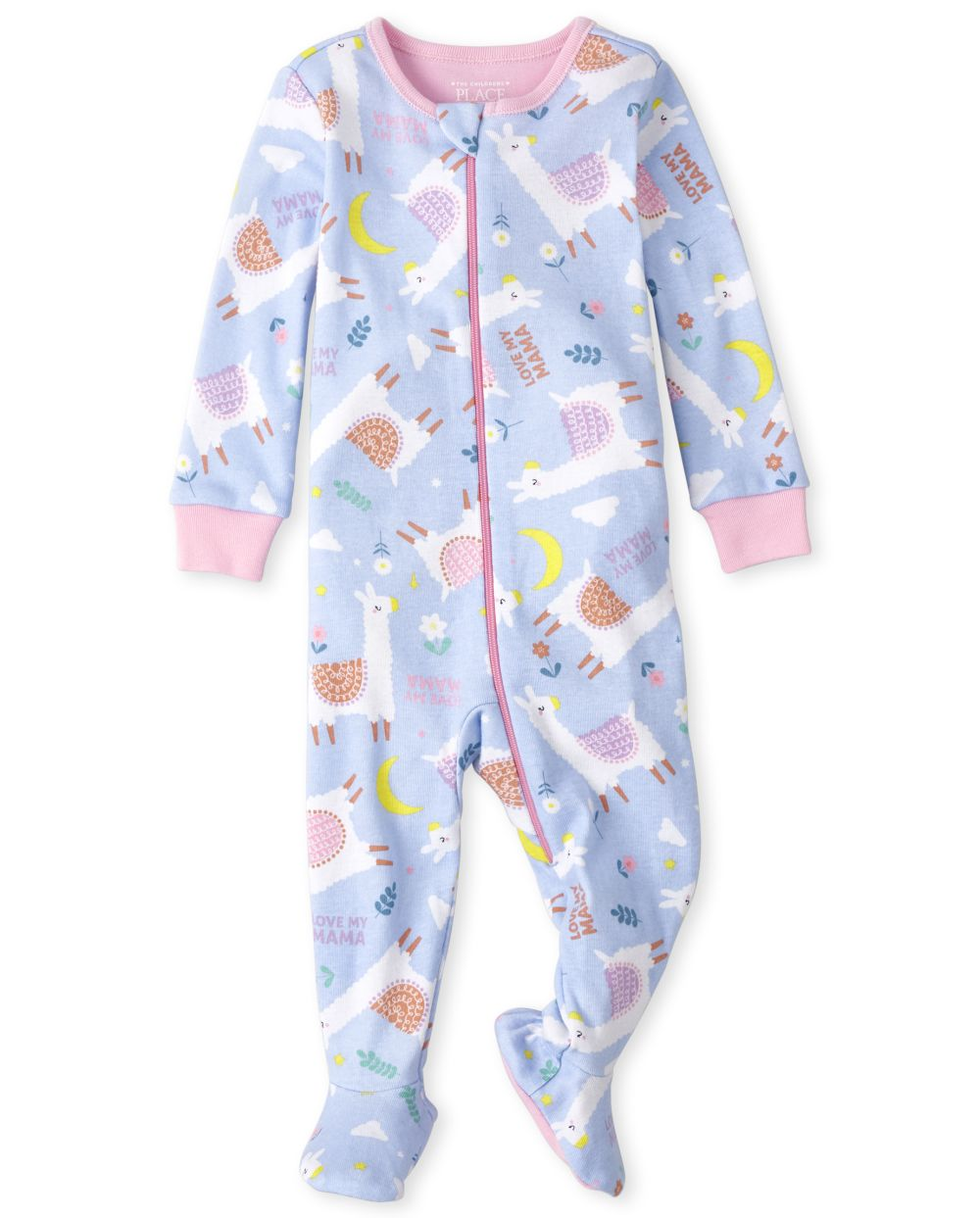 Baby And Toddler Llama Snug Fit Cotton One Piece Pajamas - Blue