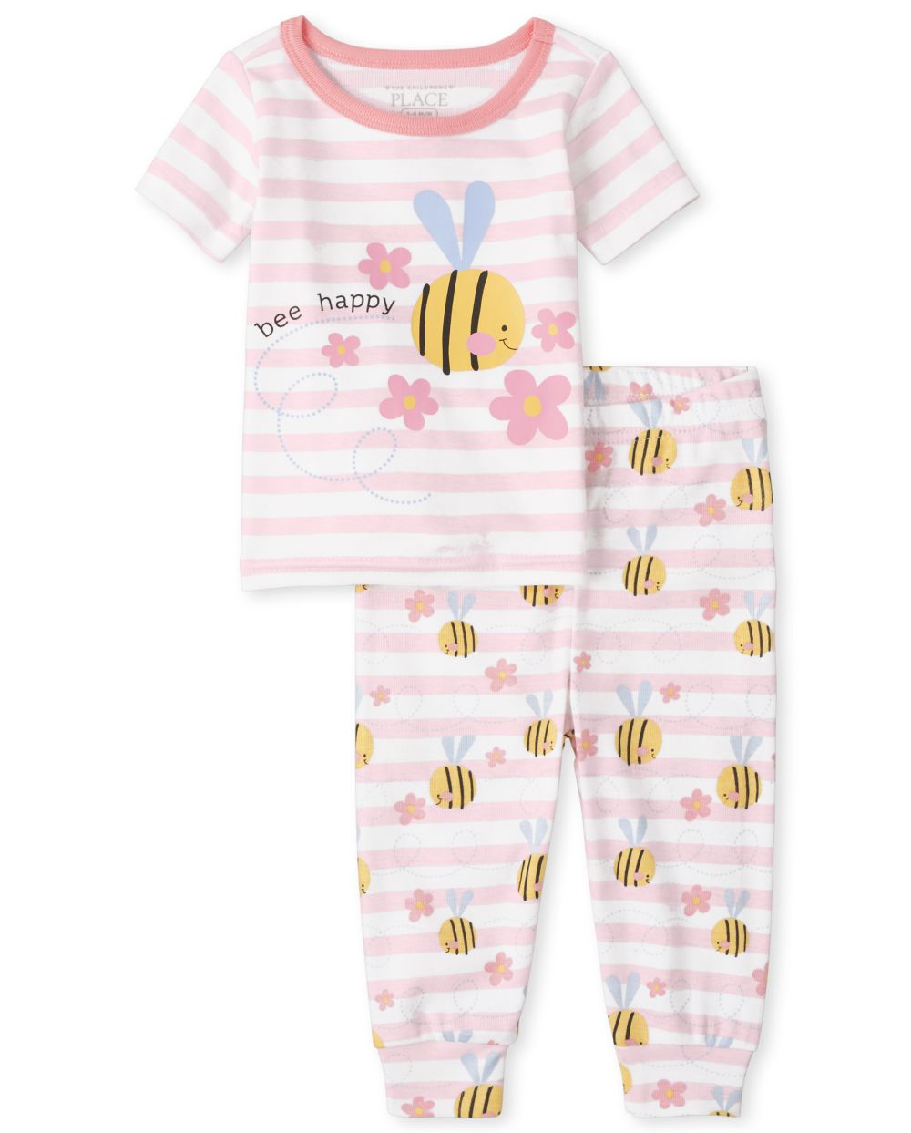 Baby And Toddler Bee Striped Snug Fit Cotton Pajamas - Pink