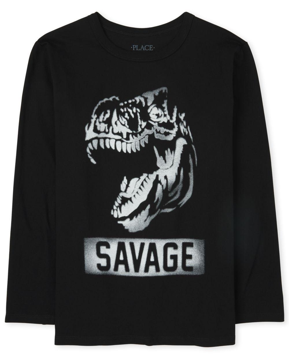 Boys Dino Savage Graphic Tee - Black T-Shirt