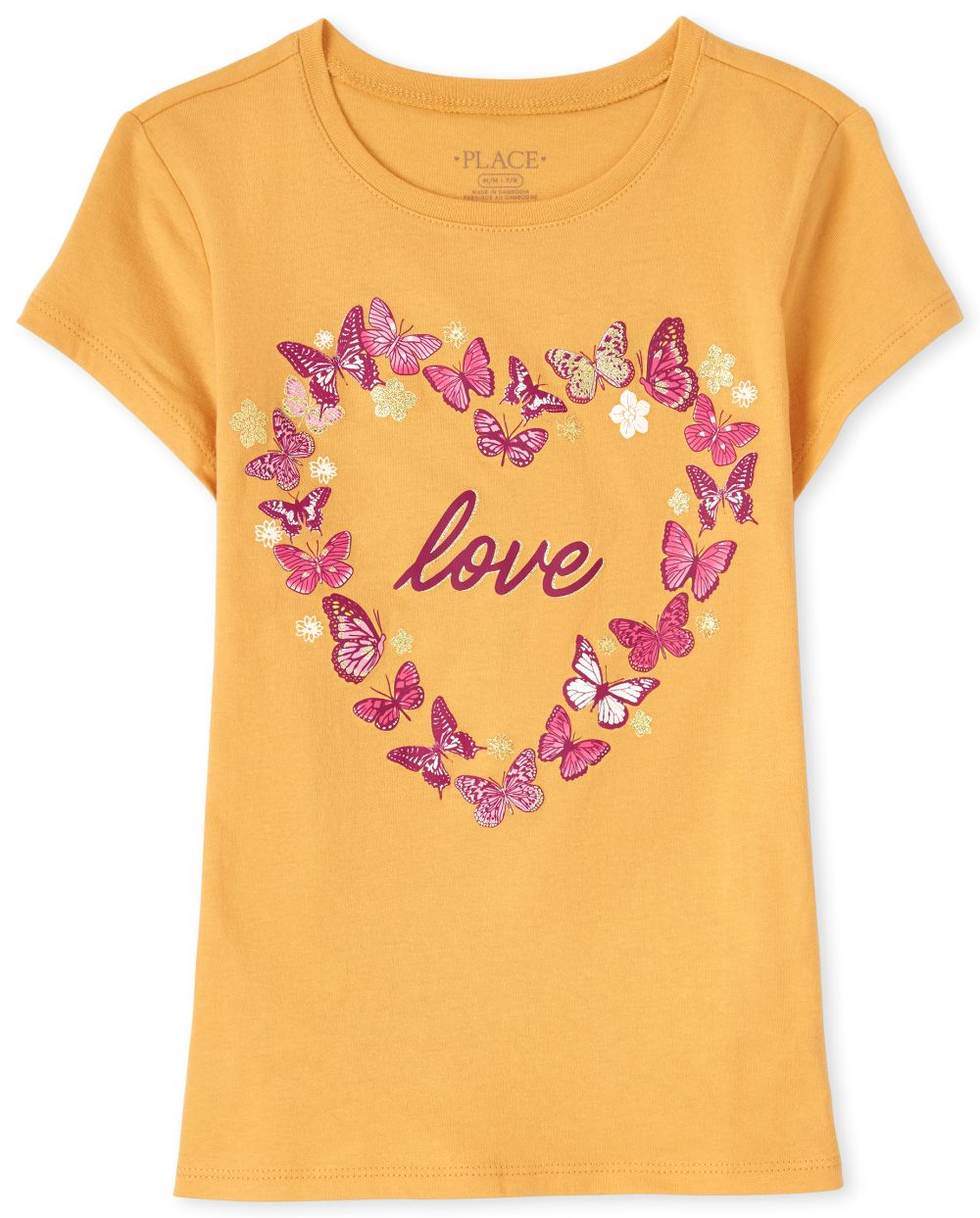 Butterfly Love Graphic Tee - Yellow T-Shirt