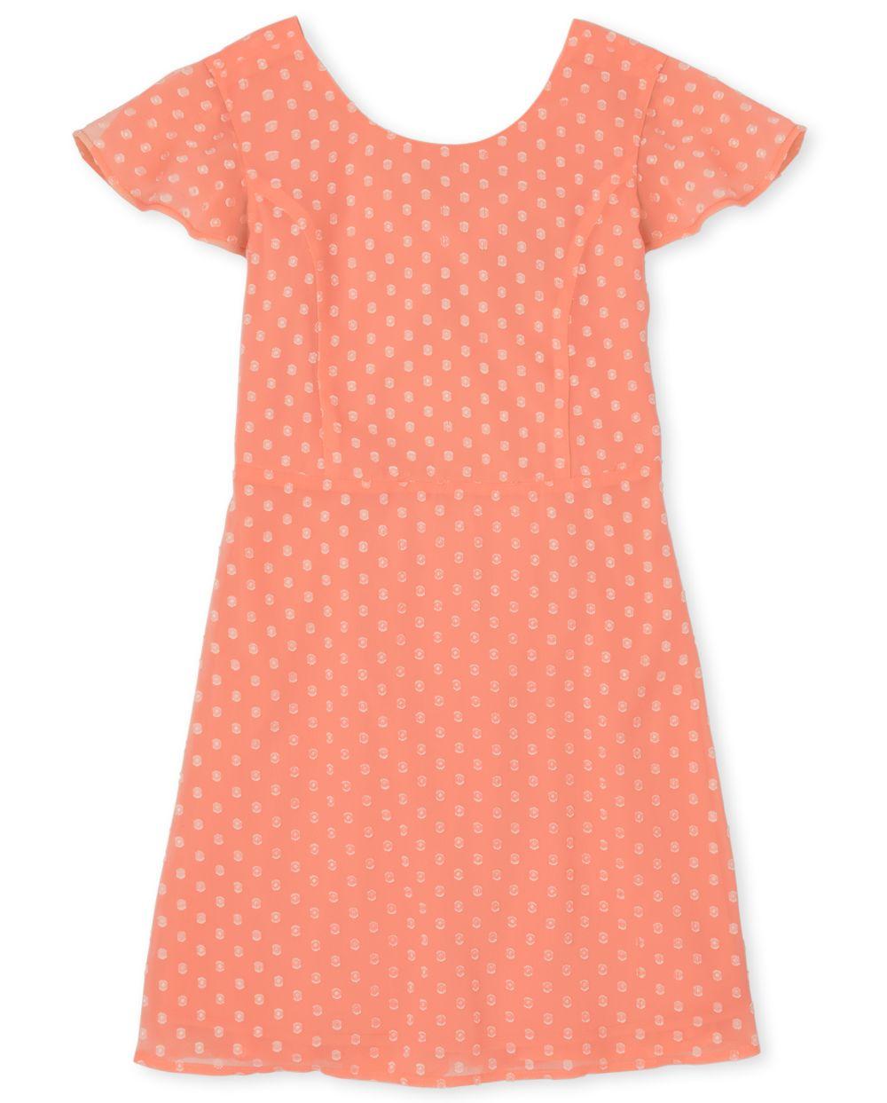 Girls Clip Dot Ruffle Dress - Orange