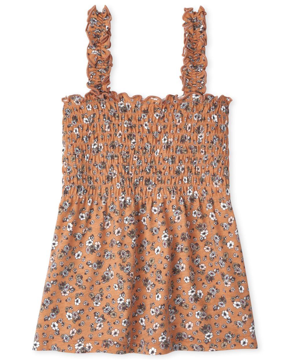 Girls Print Smocked Tank Top - Orange