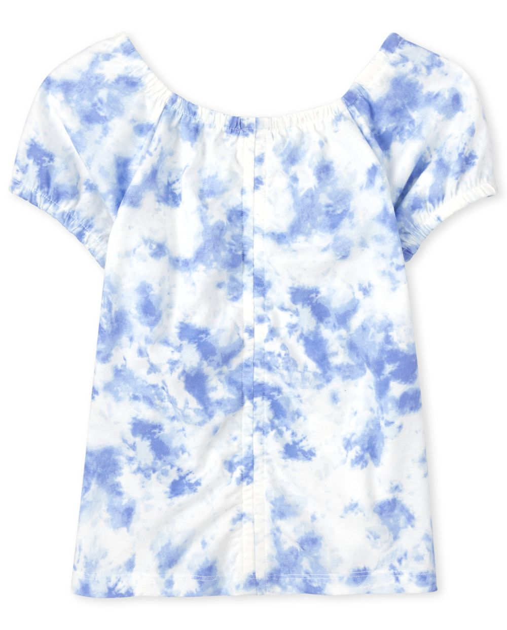 Girls Tie Dye Ruched Top - White