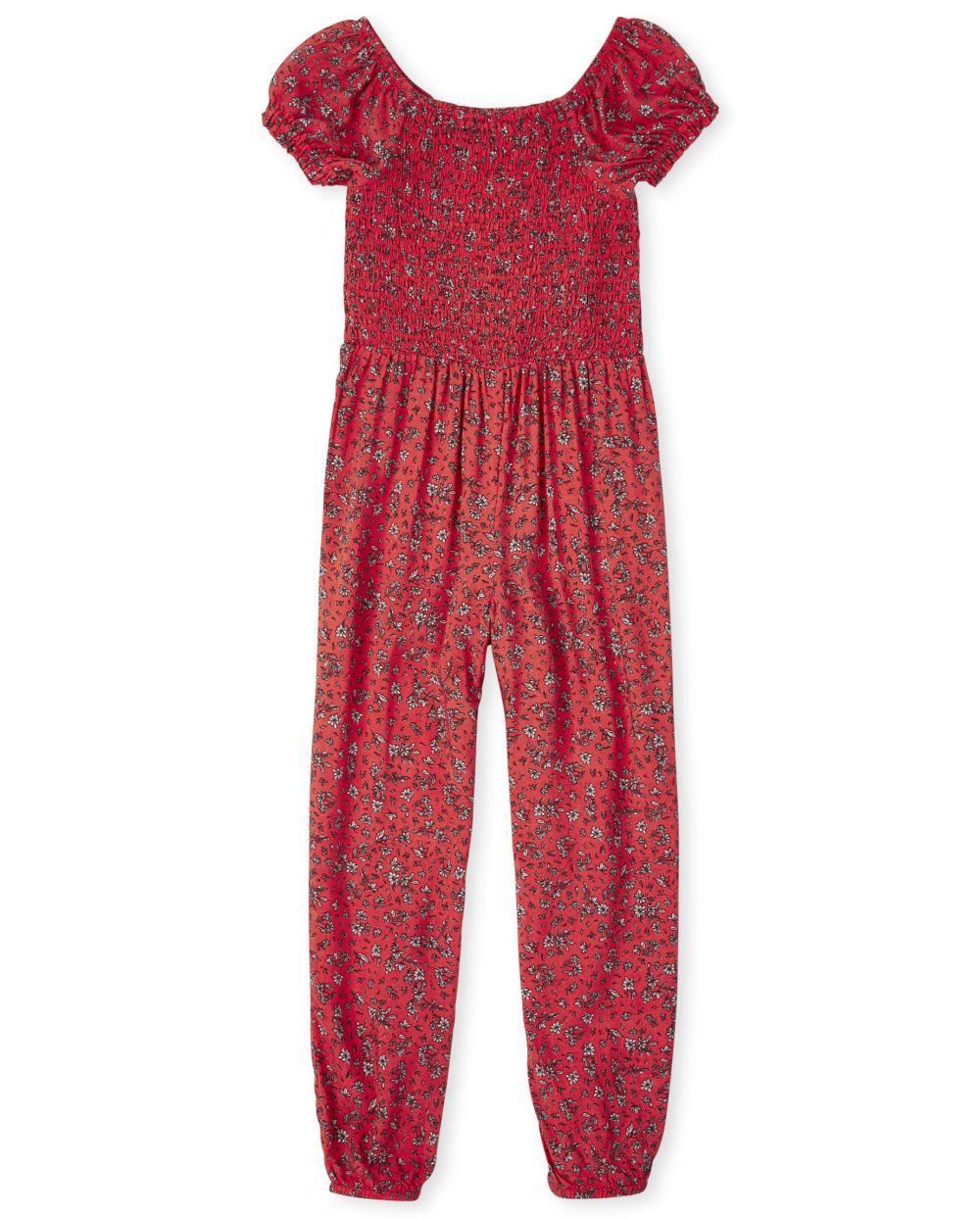 Girls Smocked Floral Print Jumpsuit