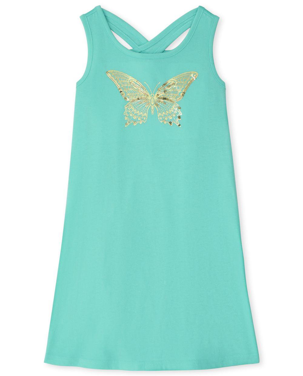 Girls Butterfly Cut Out Dress - Blue