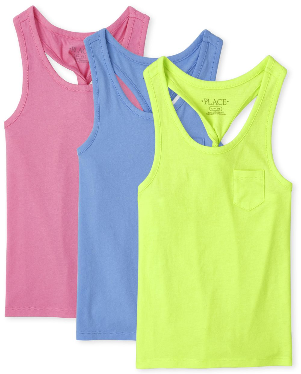 Girls Twist Back Tank Top 3-Pack - Blue