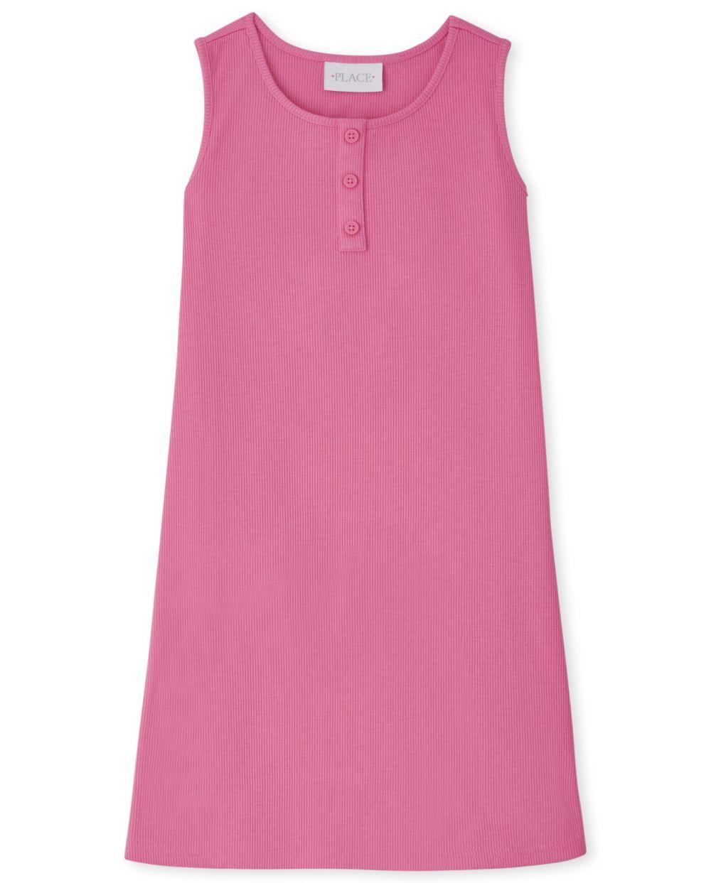 Girls Ribbed Tank Dress - Pink