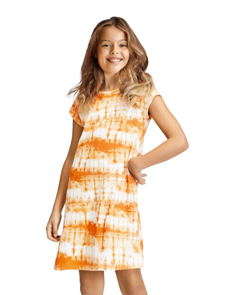 Girls Tie Dye T Shirt Dress - Orange