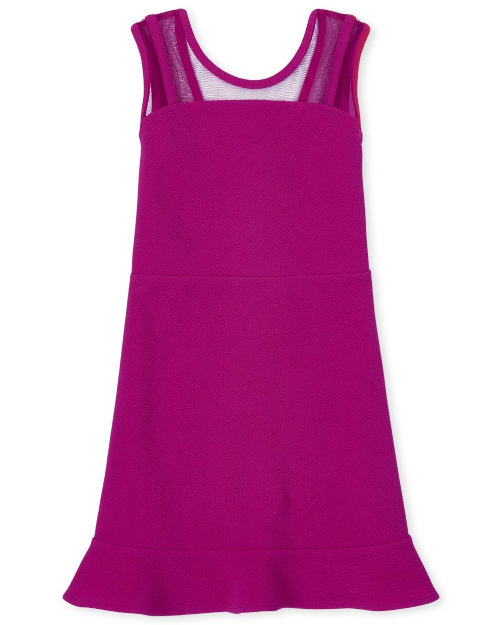 Girls Mesh Ruffle Stretch Jacquard Dress - Pink