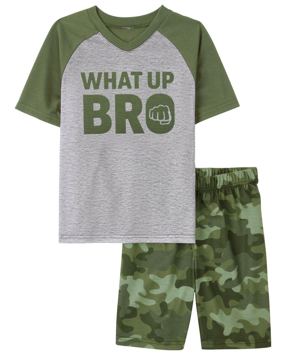 Boys What Up Bro Pajamas - Green