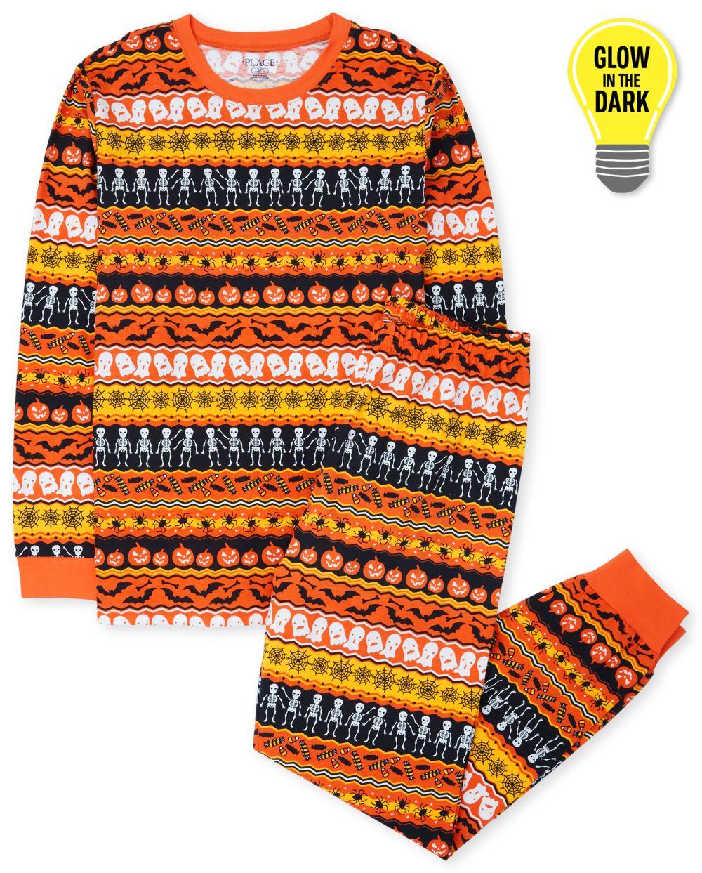 Unisex Adult Matching Family Glow Halloween Fairisle Cotton Pajamas - Black