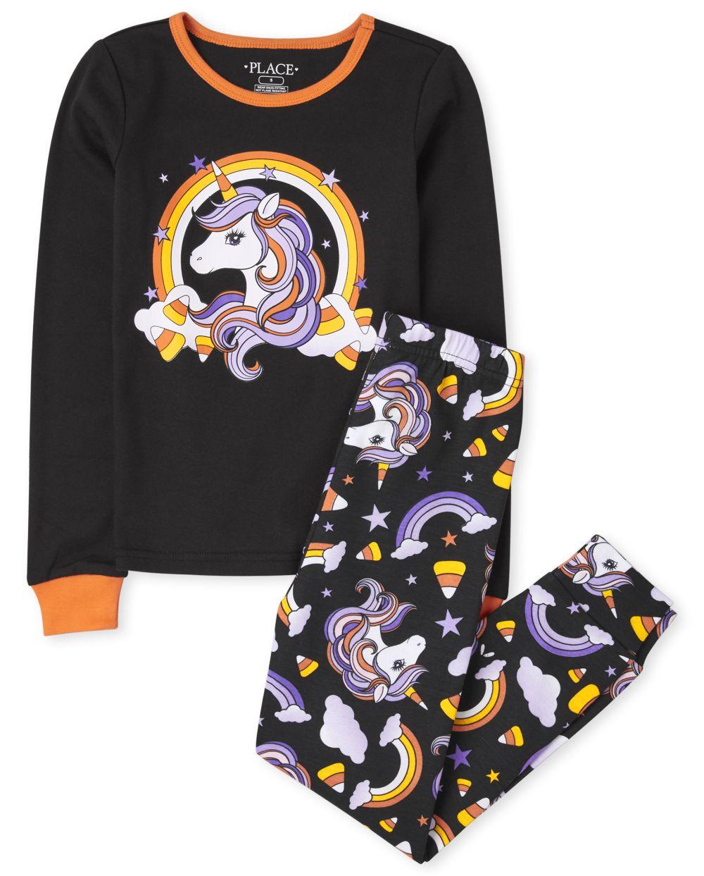Girls Halloween Unicorn Snug Fit Cotton Pajamas - Black