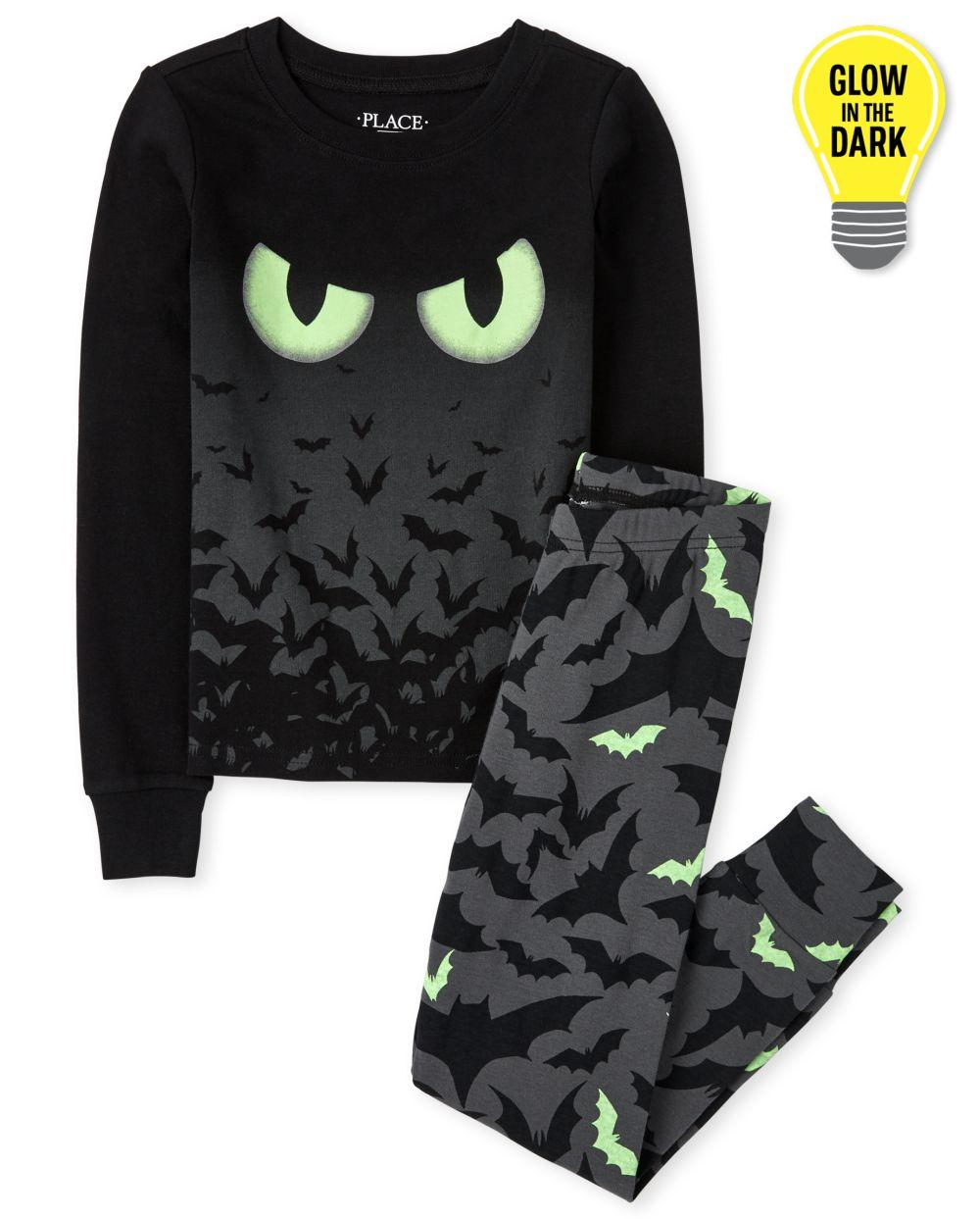 Girls Unisex Kids Glow Bats Snug Fit Cotton Pajamas - Gray