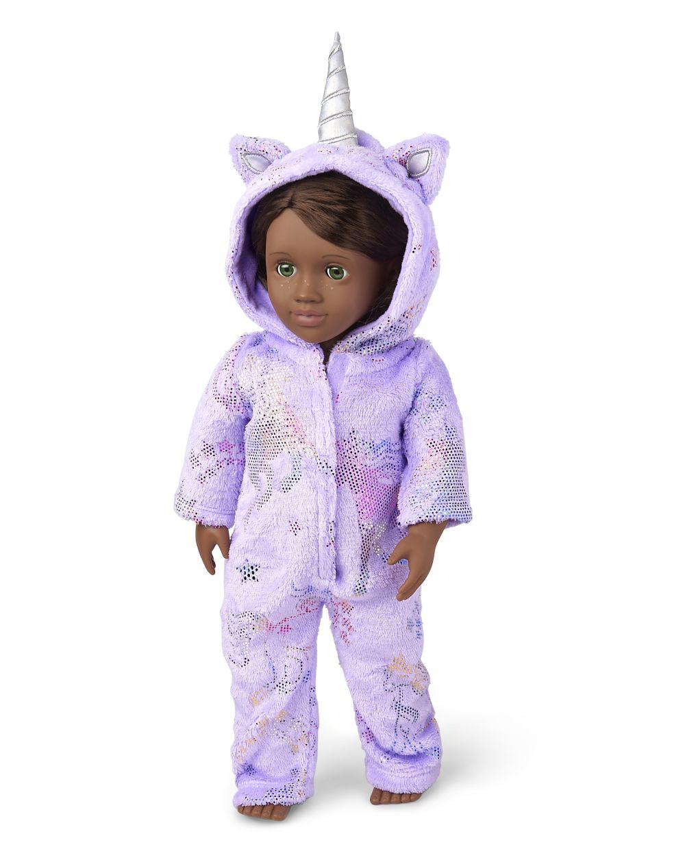 Doll Mommy And Me Unicorn Fleece One Piece Pajamas - Purple