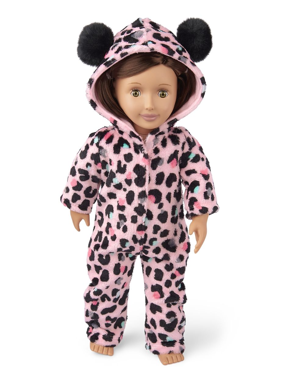 Doll Mommy And Me Leopard Fleece One Piece Pajamas - Pink