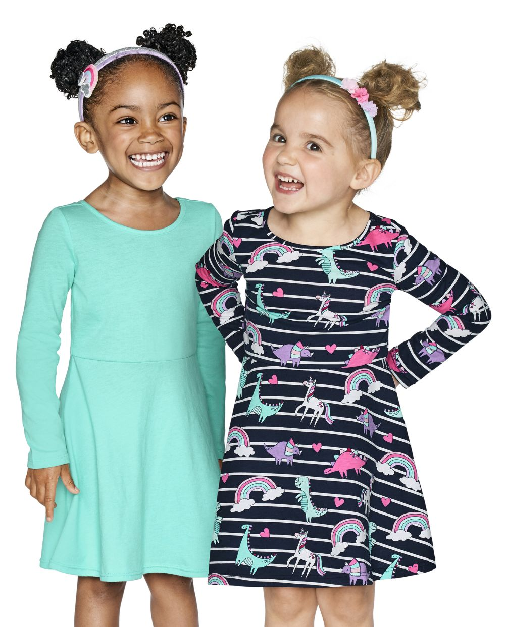 Toddler Rainbow Dino Skater Dress 2-Pack - Blue