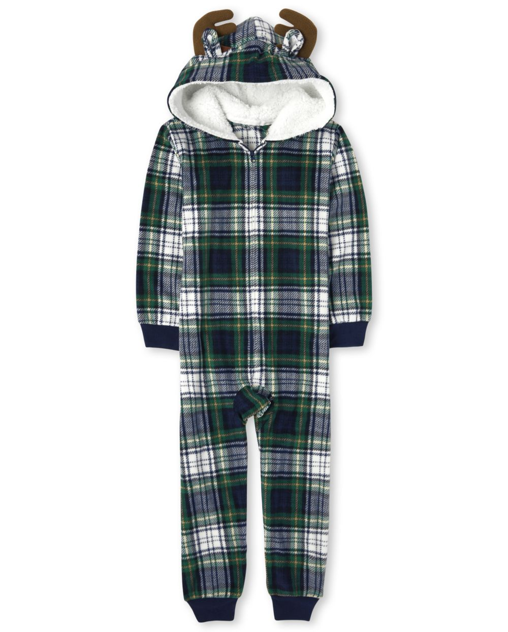 Unisex Kids Matching Family Moose Plaid Fleece One Piece Pajamas - Green
