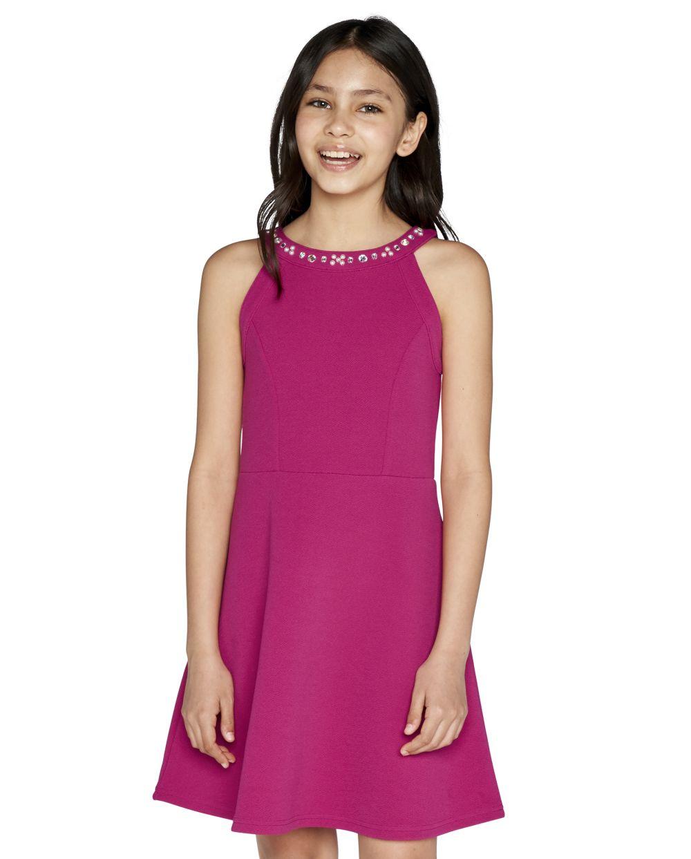 Girls Jeweled Stretch Jacquard Dress - Pink