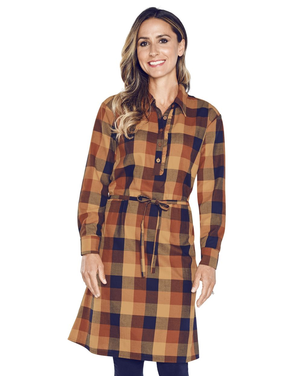 Womens Matching Family Plaid Shirt Dress - Brown