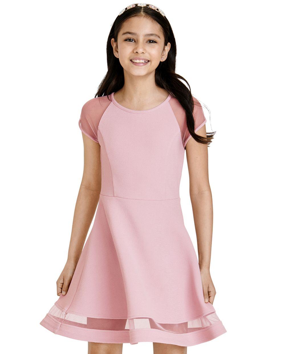 Girls Mesh Stretch Jacquard Dress - Pink