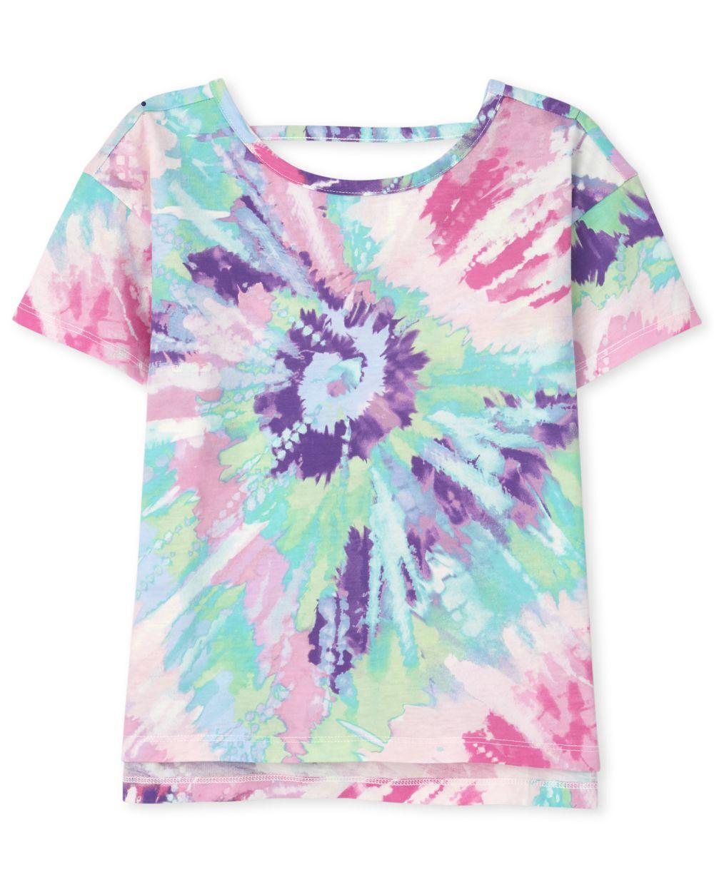 Girls Tie Dye Cut Out High Low Top - Purple
