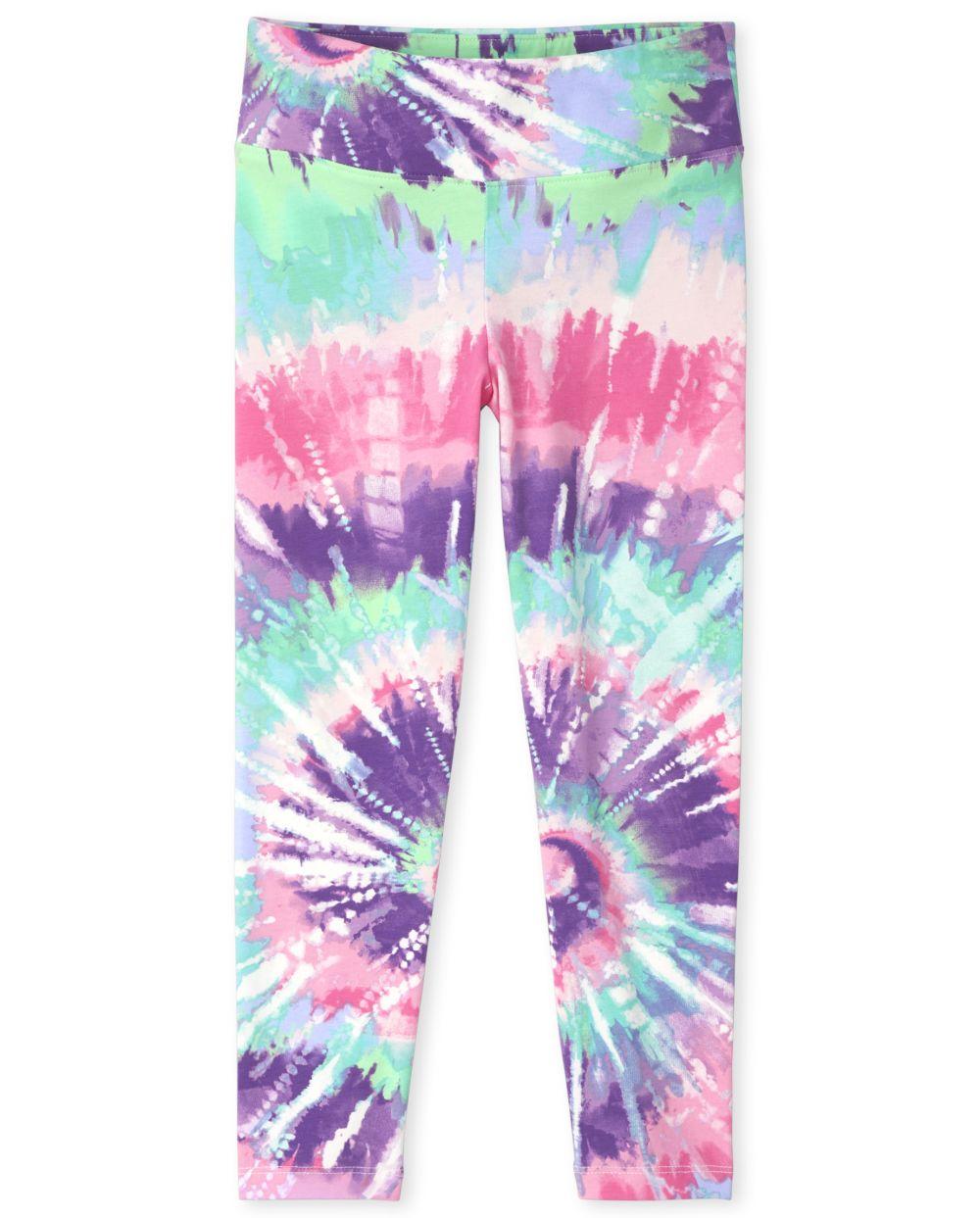 Girls Tie Dye Hi-Rise Leggings - Purple