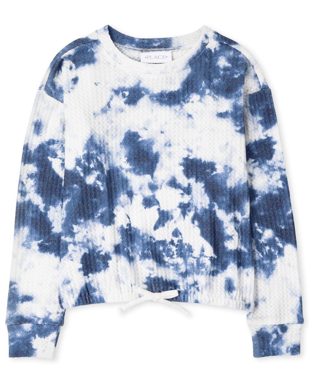 Girls Tie Dye Tie Front Thermal Sweatshirt - Blue