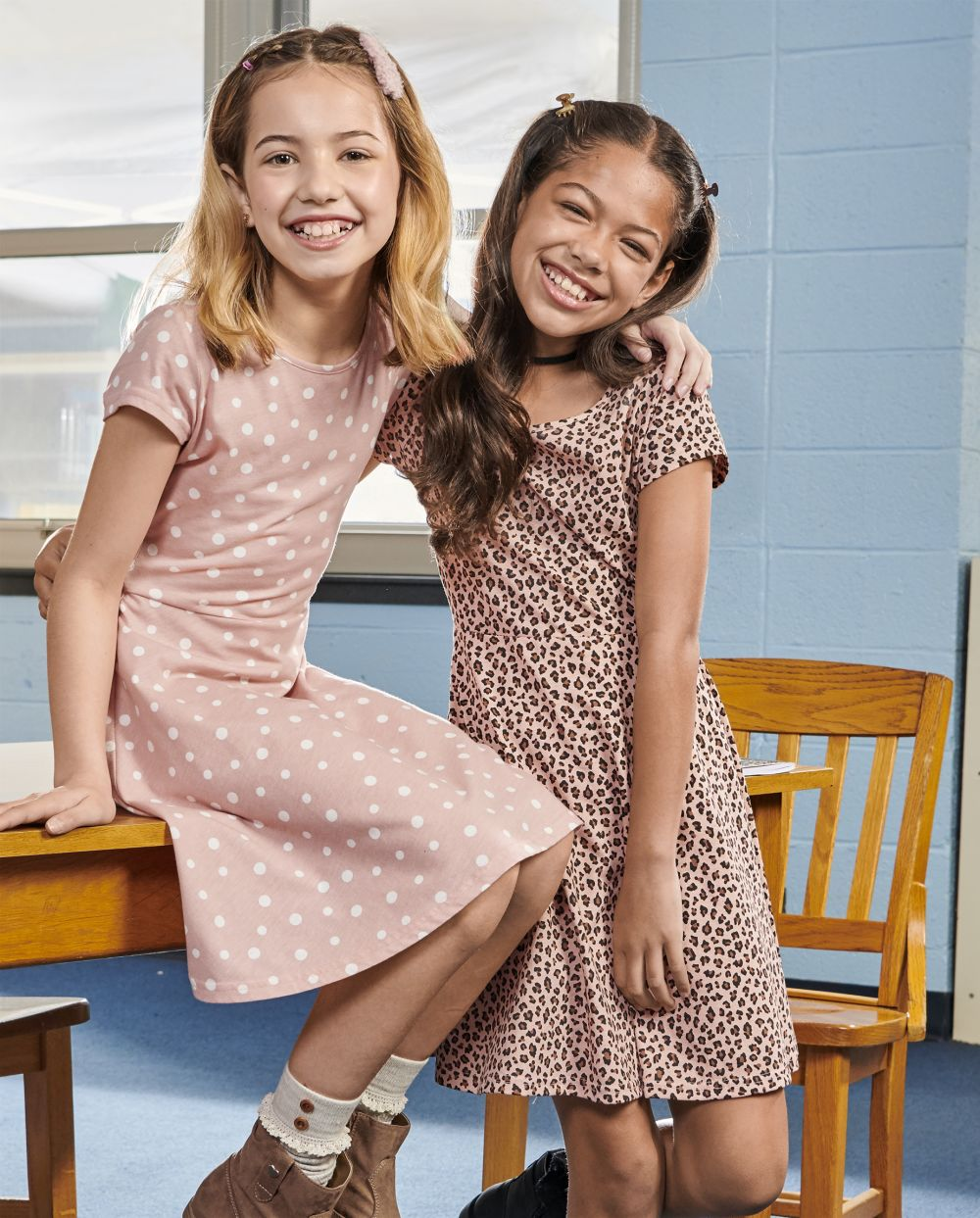 Girls Print Skater Dress 2-Pack - Pink