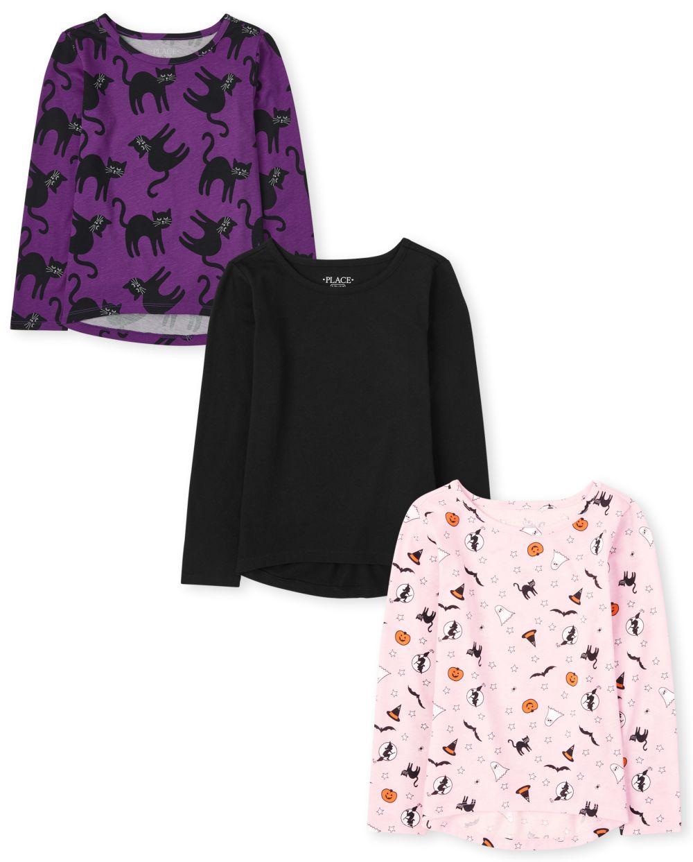 Girls Halloween Top 3-Pack - Purple