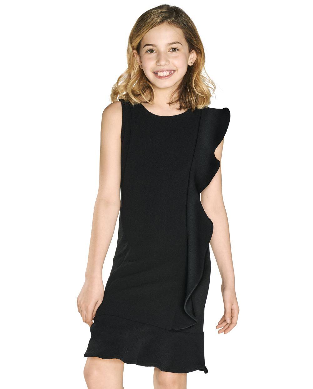 Girls Ruffle Stretch Jacquard Dress - Black