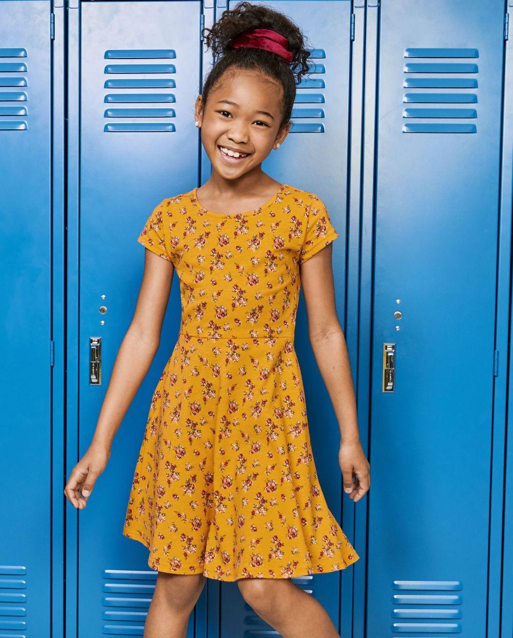 Girls Print Skater Dress - Orange