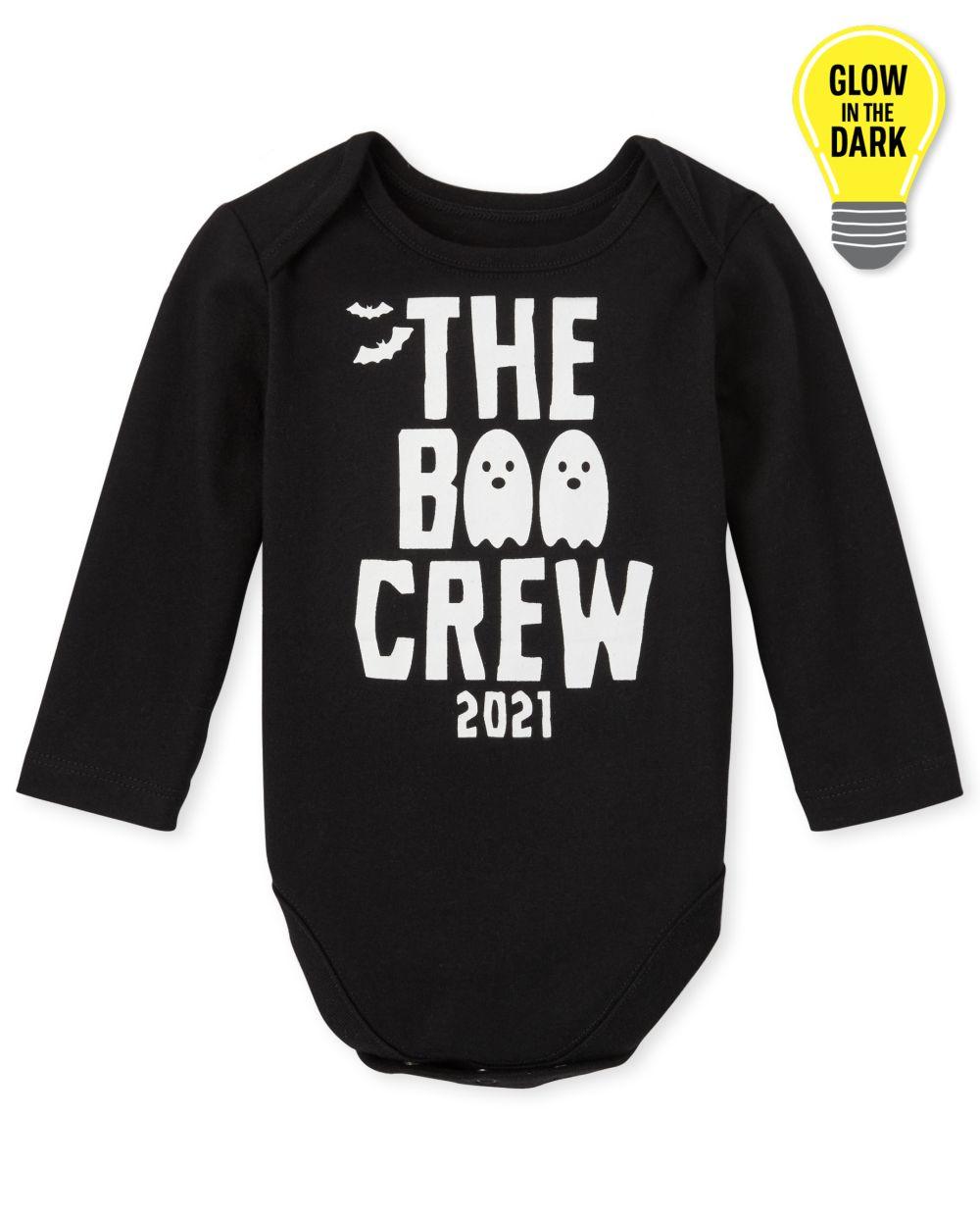 Newborn Unisex Baby Matching Family Glow Boo Crew Graphic Bodysuit - Black
