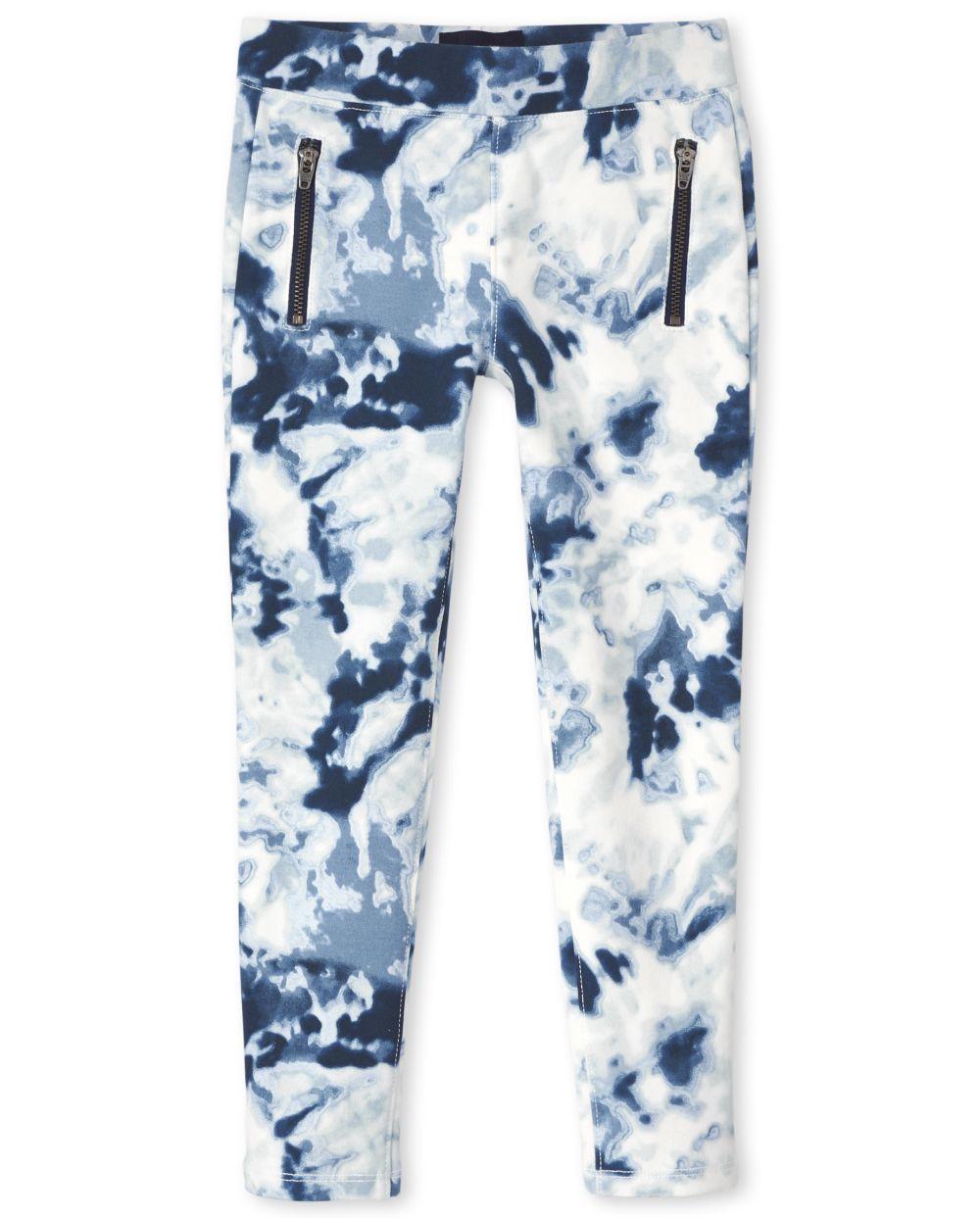 Girls Zip Ponte Knit Pull On Jeggings - Blue