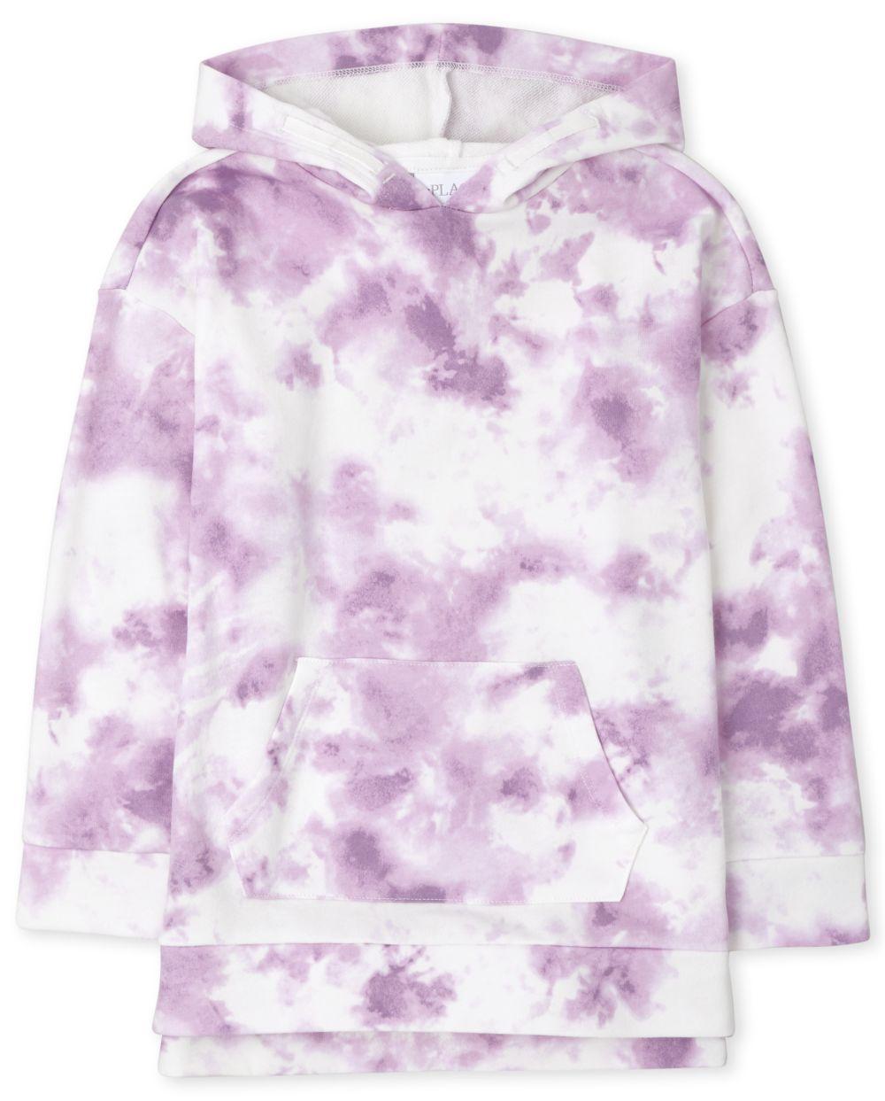 Girls Tie Dye Fleece Hoodie - Purple