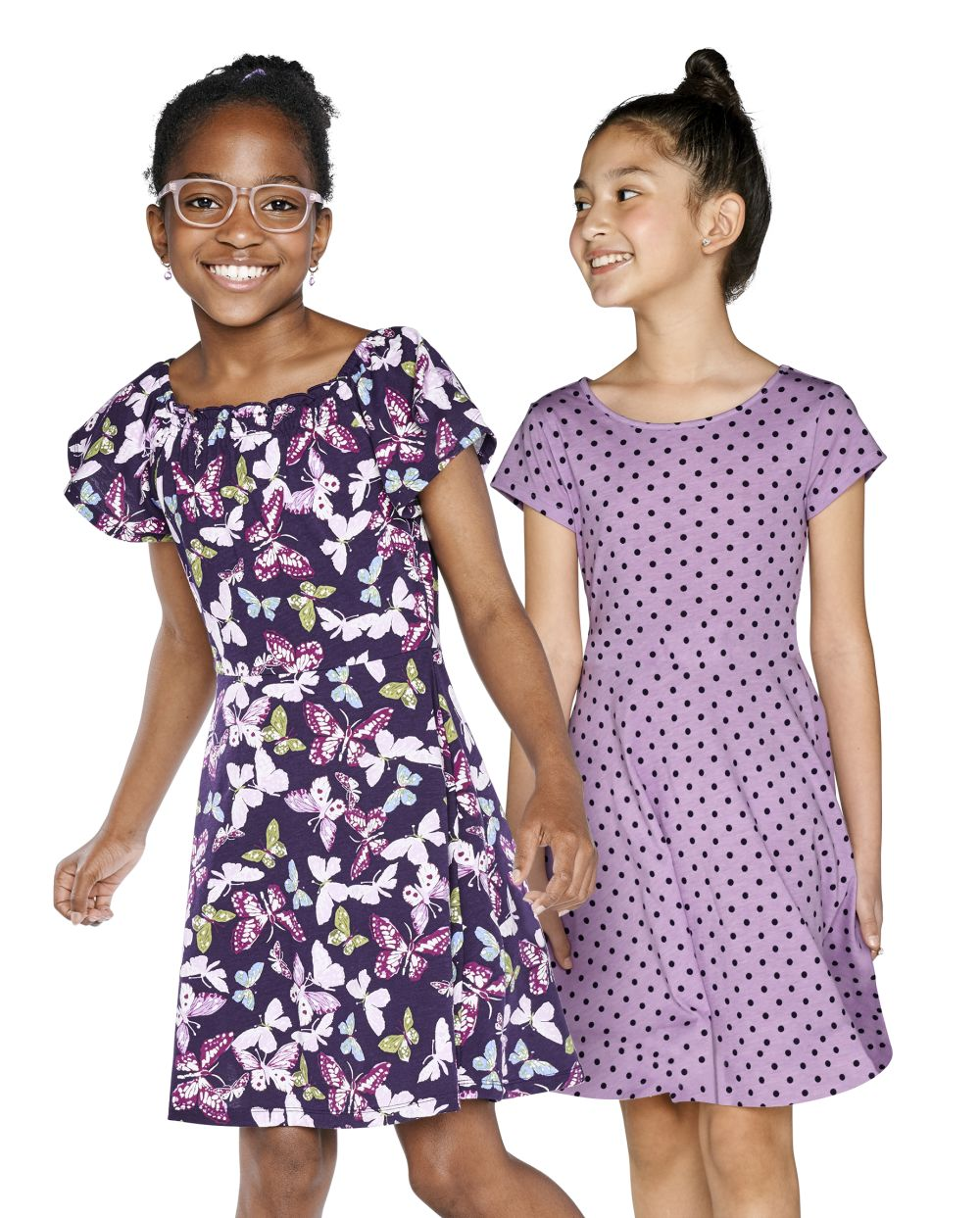 Girls Print Skater Dress 2 Pack - Purple