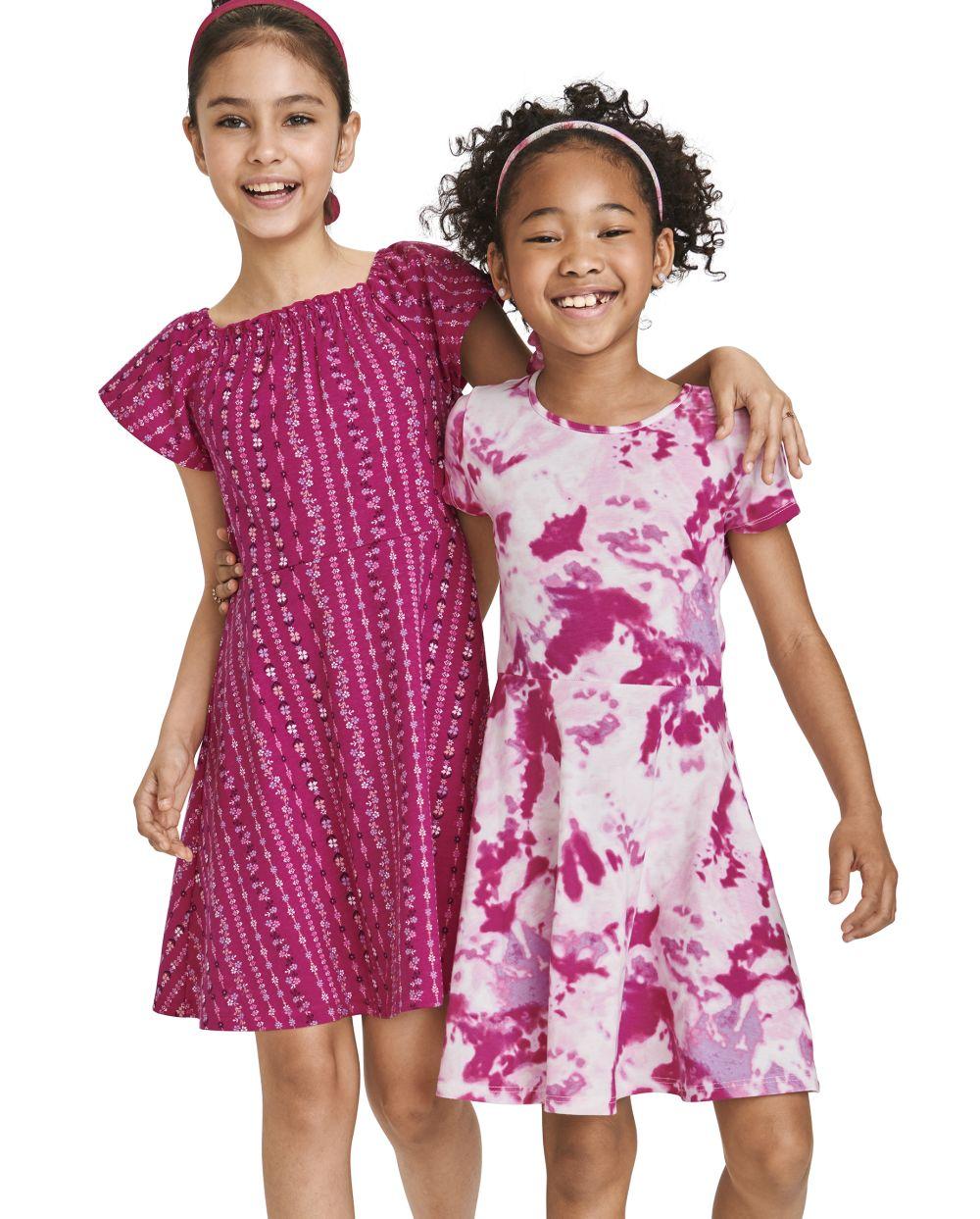 Girls Print Skater Dress 2 Pack - Pink