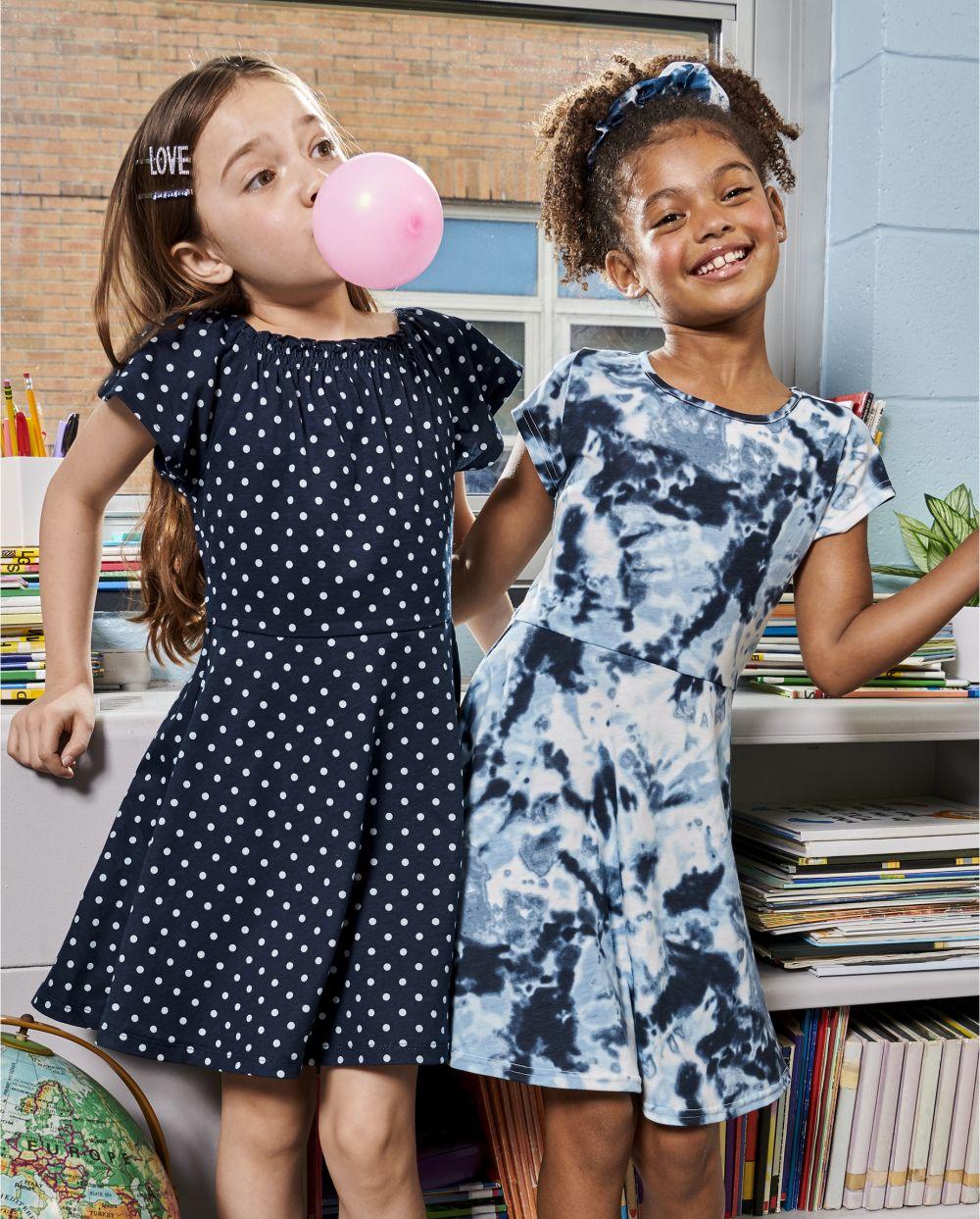 Girls Print Skater Dress 2 Pack - Blue
