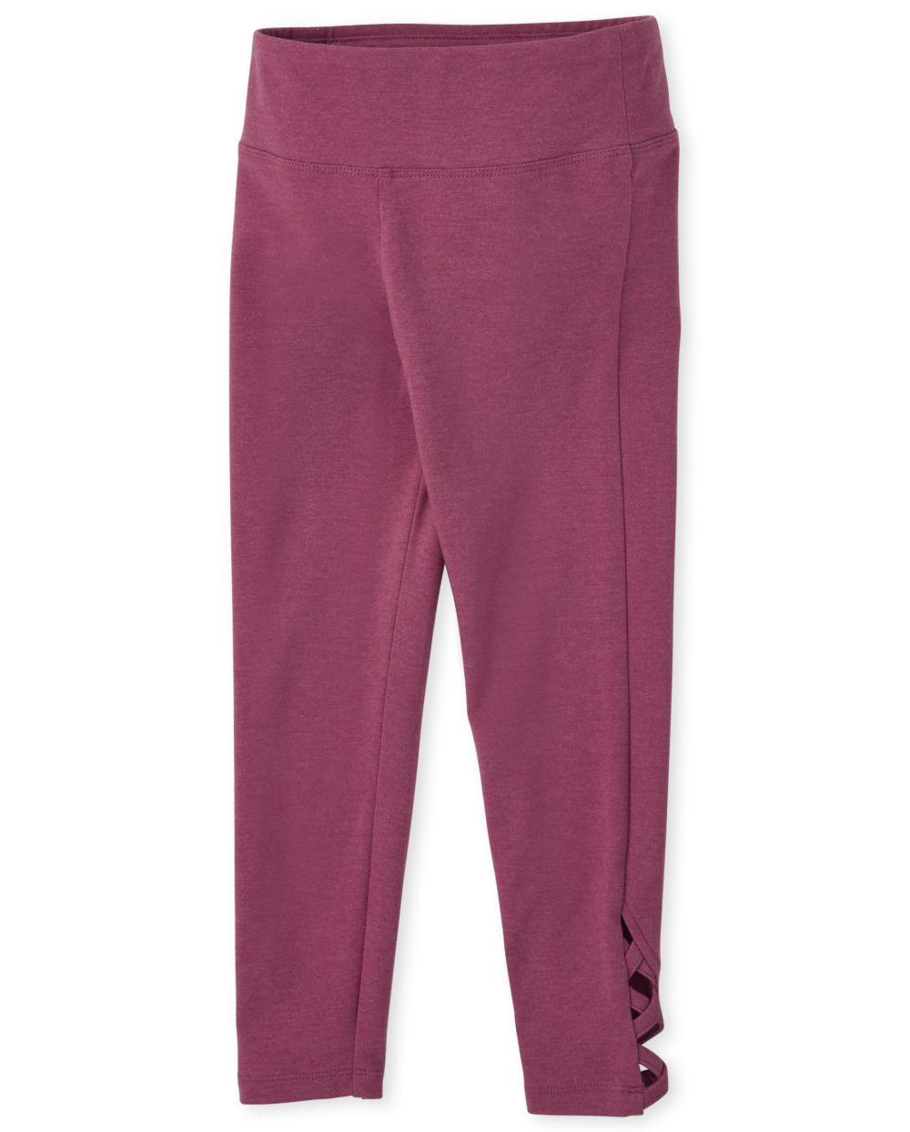 Girls Lace-Up Leggings - Pink