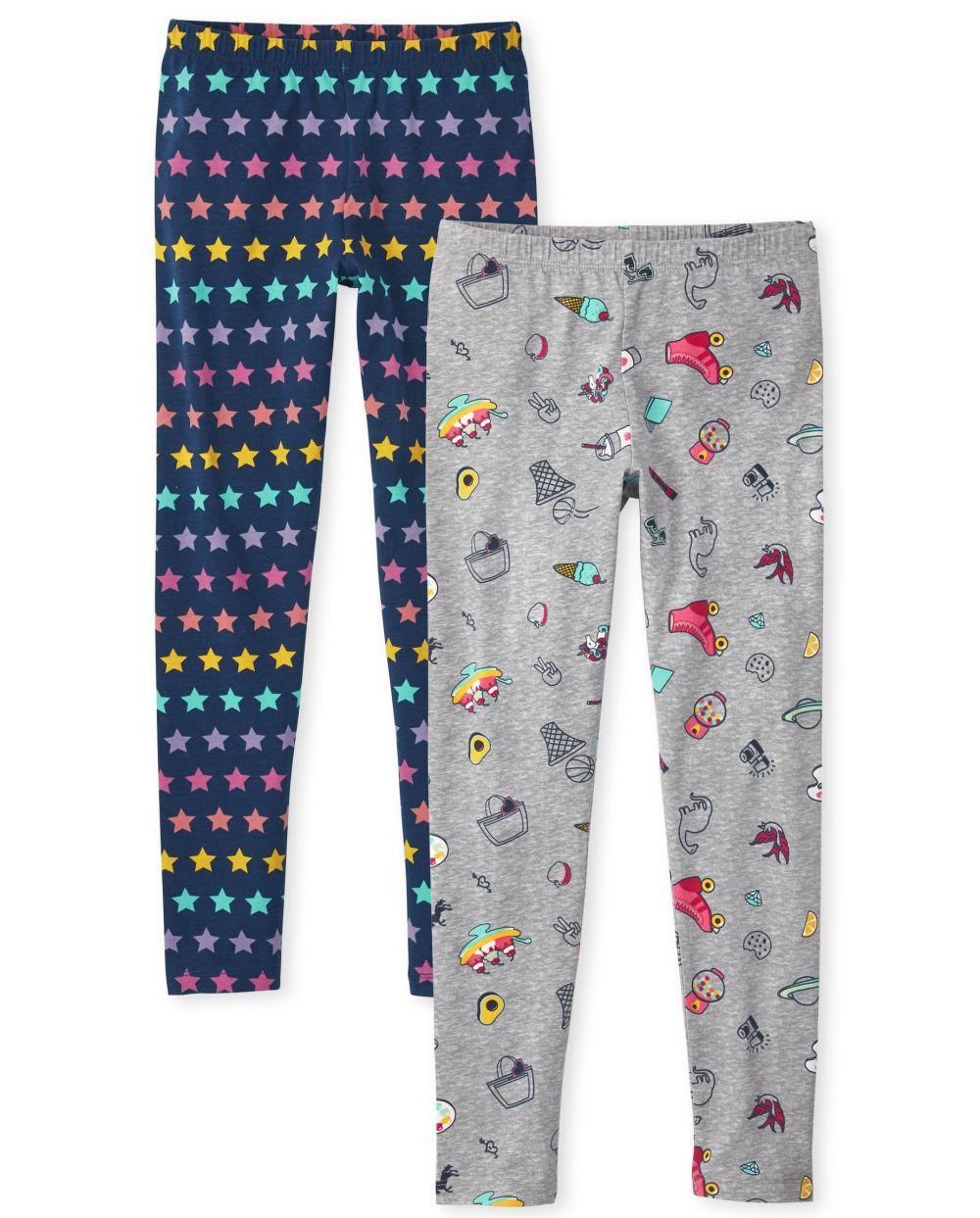 Girls Print Leggings 2-Pack - Gray