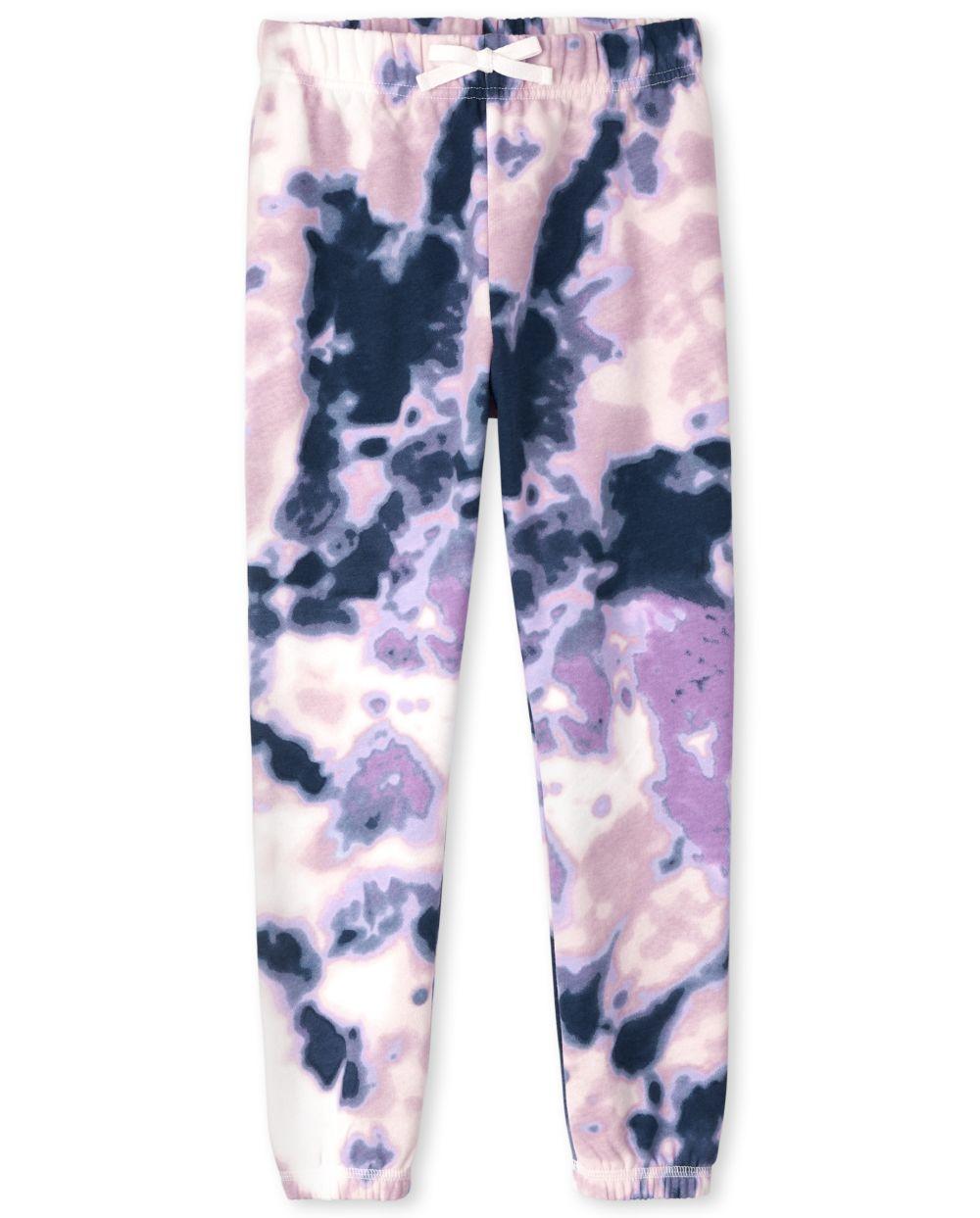 Girls Tie Dye Fleece Jogger Pants - Blue