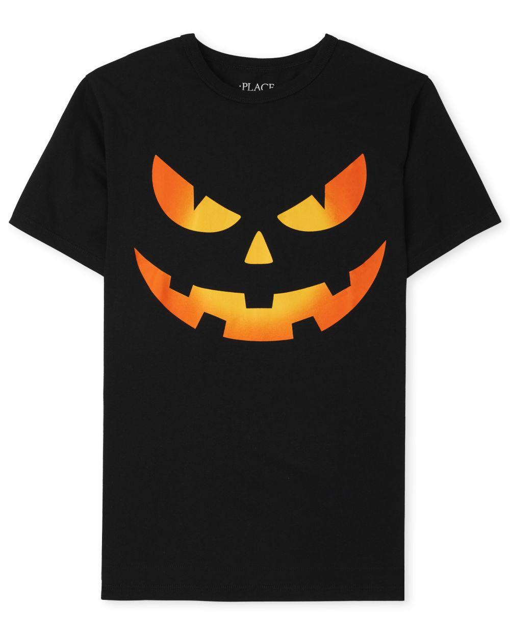 Boys Pumpkin Face Graphic Tee - Black T-Shirt
